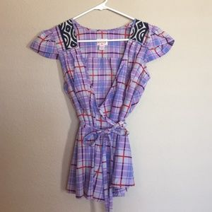 Plenty by Tracy Reese Plaid Silk Wrap Blouse 6